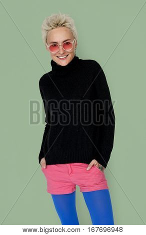 Trendy Woman with Sunglasses Smiling