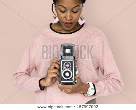 African Woman Camera Photographing Classic Retro Studio Portrait