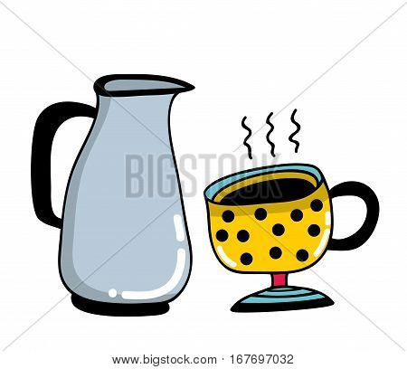 Morning set with cup and milk jug. Vector illustration.