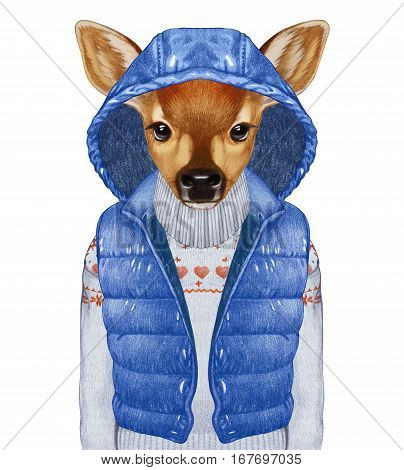 Animals as a human. Fawn in down vest and sweater. Hand-drawn illustration, digitally colored.
