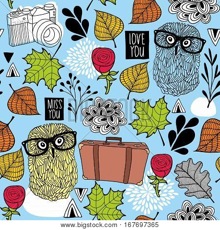 Vintage bag and ready to traveling owl in old eyeglasses. Vector seamless pattern.