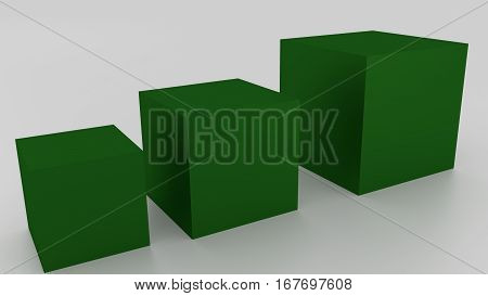 Concept Of 3D Dark Green Boxes On A White Background. Rendered Illustration.