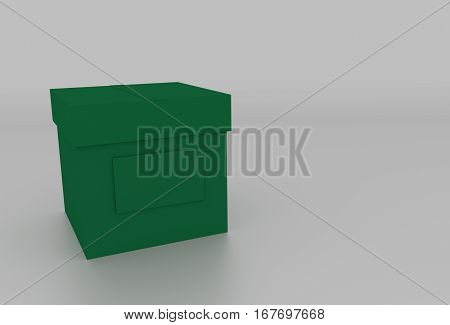 3D Dark Green Cardboard Box With Cover And Space For Text. Rendered Illustration.