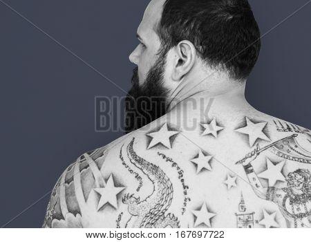 Caucasian Man Back View Facial Hair