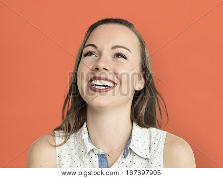 Caucasian Woman Smiling Happy Cheerful