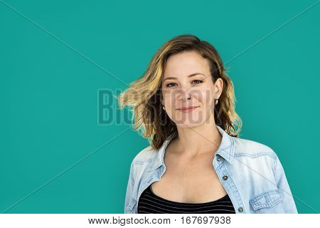 Caucasian Lady Cheerful Casual Concept