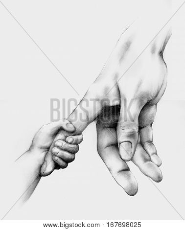 Pencil drawing of a child's hand holding an adult hand