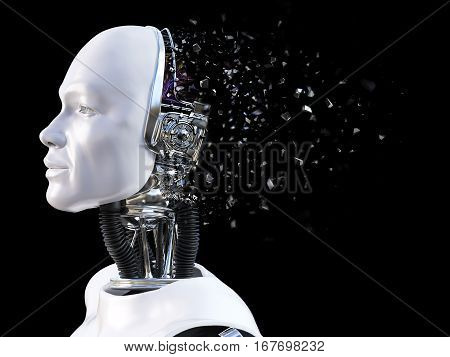 3D rendering of the head of a male robot. The head is breaking apart like it's exploding. Black background.