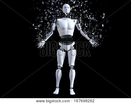3D rendering of a male robot that is starting to shatter like it's disintegrating or dissolving. Black background.