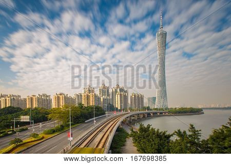 Urban Landscape of Guangzhou city at sunshine day China