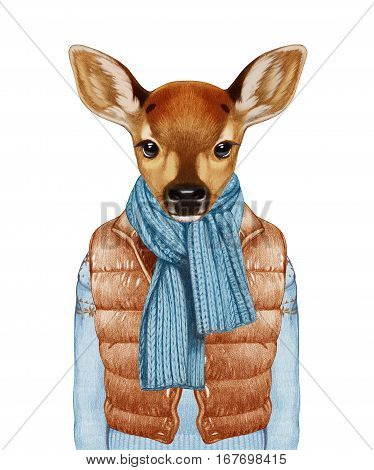 Animals as a human. Fawn in down vest, sweater and scarf. Hand-drawn illustration, digitally colored.
