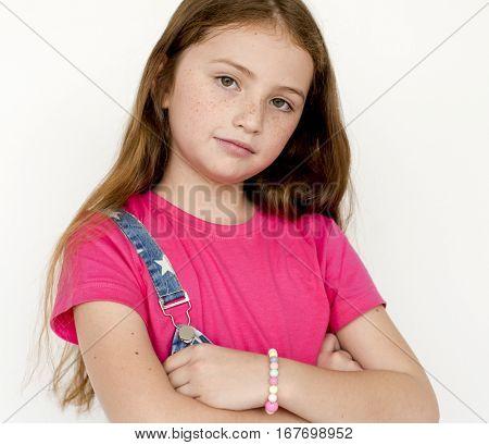 Little Girl Smiling Happiness Studio Portrait