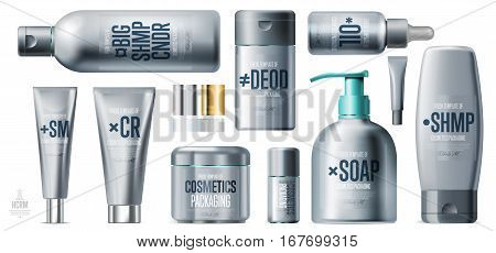 Realistic daily beauty care cosmetic product plastic container set vector illustration. Lotion, tonic, gel, shampoo, soap, cream, conditioner 3D silver tube. Modern cosmetic series packaging template