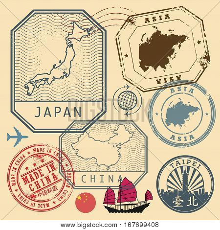 Travel stamps set with the text Asia Japan China Made in China (in chinese language too) vector illustration