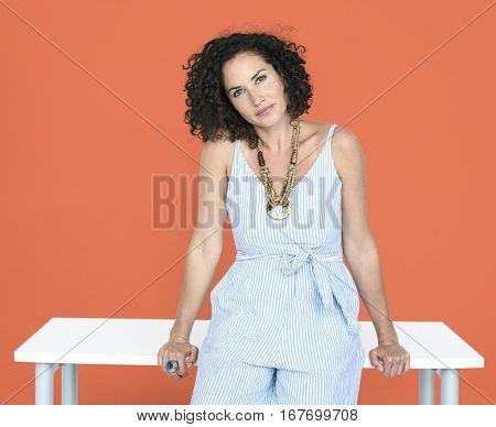 Caucasian Woman Smiling Table