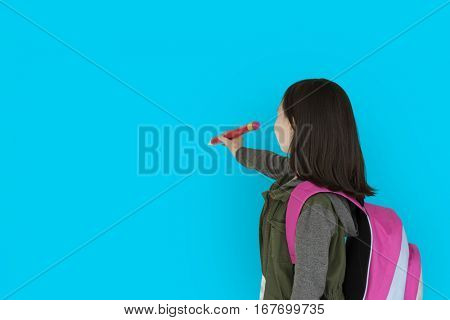 Little Girl Holding Pencil Back View