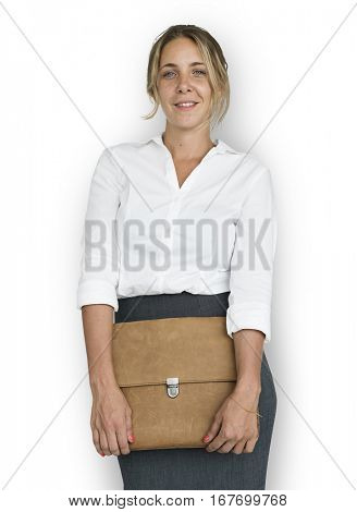 Caucasian Business Woman Holding Bag