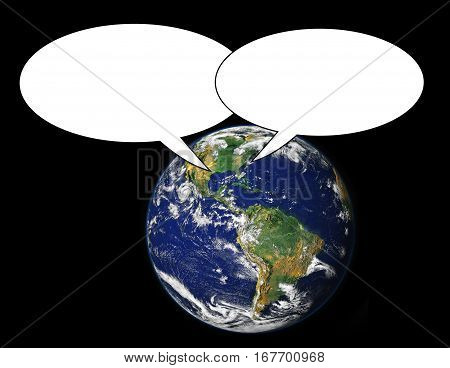 Two text balloons with earth background. Elements of this image furnished by NASA