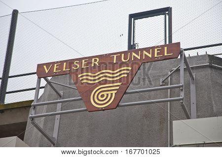 VELSEN THE NETHERLANDS - January 8 2017: Entrance logo of new built tunnel Velsertunnel in Velsen The Netherlands