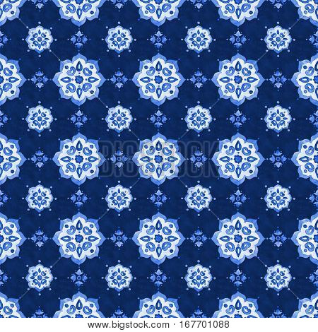 Watercolor royal blue velour seamless pattern renaissance tiling ornament. Delicate filigree openwork lace. Blue velvet revival tracery design. Denim texture background. Winter stylized snowflakes