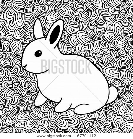 Hand drawn white rabbit on doodle background. Vector illustration for coloring book.