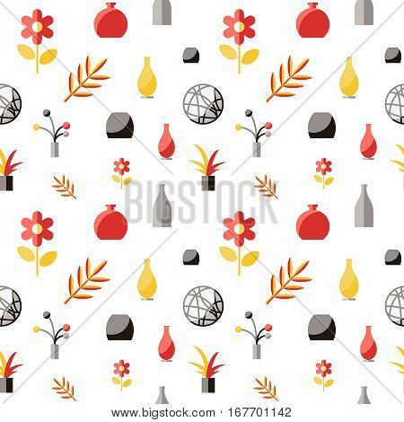 detailed Interior pattern. Flat vector stock illustration.