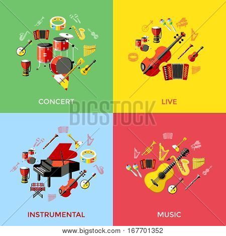 music instruments icons. Vector colorful icons illustrations