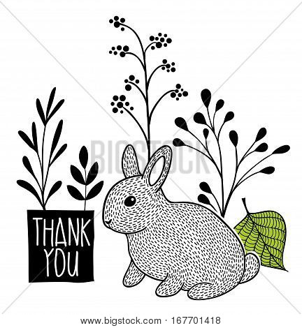 Card cover with message and cute rabbit. Vector designed illustration.