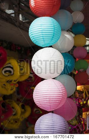 Paper Lanterns For Sale On Hang Ma Street. The Street Are Crowded Before Vietnamese Mid-autumn Festi
