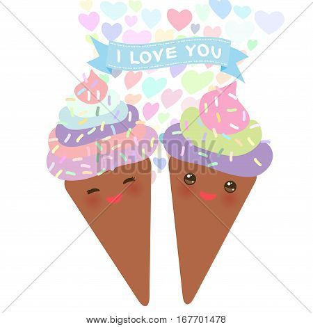I love you Card design with chocolate Ice cream waffle cone Kawaii funny muzzle with pink cheeks pastel colors on white background. Vector illustration