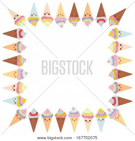 Card design for your text banner template with square frame Kawaii funny Ice cream waffle cone muzzle with pink cheeks and winking eyes pastel colors on white background. Vector illustration