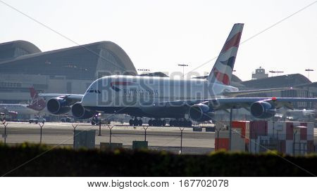 LOS ANGELES, CALIFORNIA, UNITED STATES - OCT 9th, 2014: British Airways Airbus A380-800 shown shortly before takeoff at the LA Airport LAX.