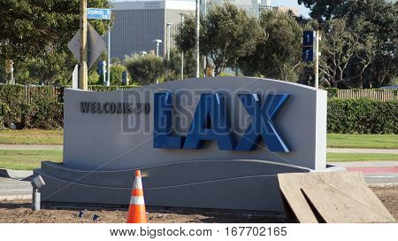 LOS ANGELES, CALIFORNIA, UNITED STATES - OCT 9th, 2014:: The Welcome to LAX sign on Sepulveda Blvd. The LA airport is the sixth busiest in the world and third busiest in the U.S.