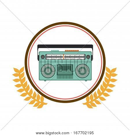 colorful silhouette circle with decorative olive branch and radio stereo vector illustration