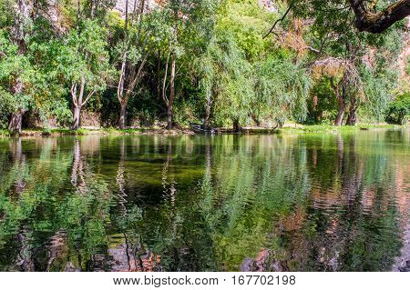 Landscape of the mirror lake surrounded by forest in the Natural park of Monasterio de Piedra in Nuevalos, Zaragoza, Spain