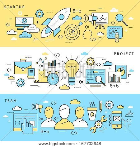 Thin line icons of startup key elements, new brand development, small business growth, market research and company vision.