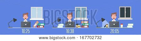Business life workaholic worker in office day and night scene vector illustration. Flat. Vector.