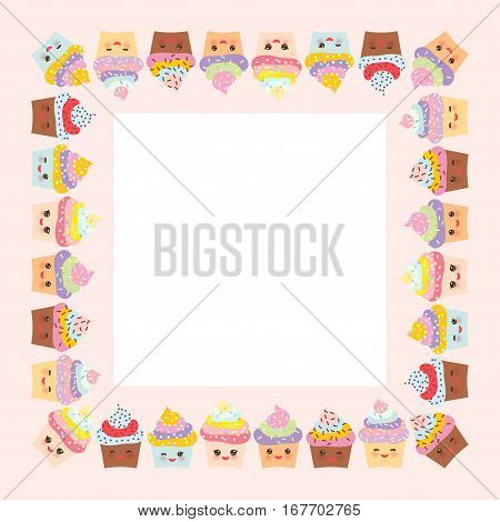 Card design with square frame Cupcake muzzle with pink cheeks and winking eyes pastel colors on pink white background. Vector illustration