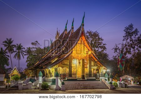 Wat Xieng thong temple at twilight time in Luang Pra bang Laos.