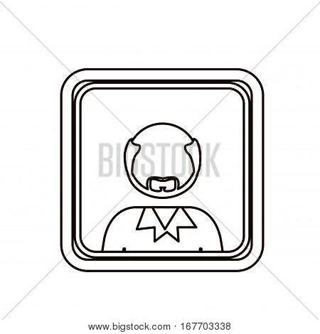 monochrome contour square with half body bald man with beard without face vector illustration