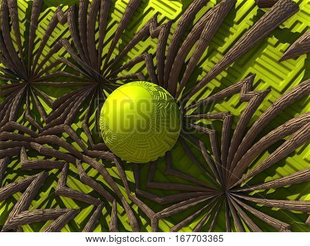 3D illustration of virtual scenery with green ball in the vegetation roots