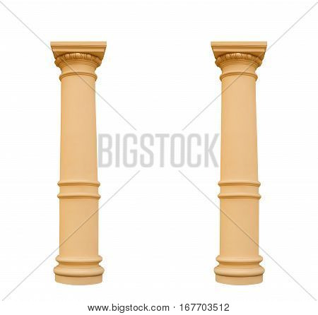 two columns in the Ionic style, isolated on white background.