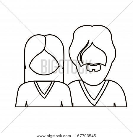 monochrome contour with half body couple without face she long hair and him with beard vector illustration