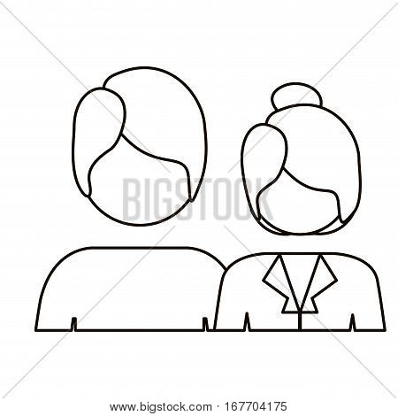 monochrome contour with half body couple without face and both with short hair vector illustration