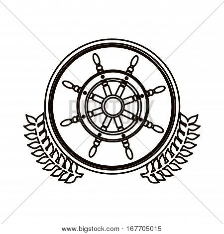 black contour circle with decorative olive branch and boat helm vector illustration