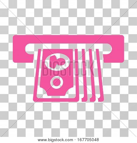 ATM Insert Cash icon. Vector illustration style is flat iconic symbol pink color transparent background. Designed for web and software interfaces.