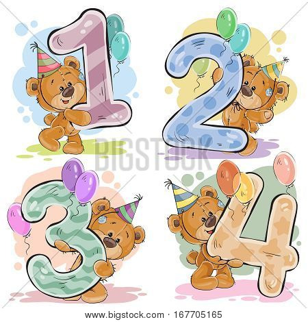 Vector set of numbers being in the legs in a fun teddy bears, template greeting card for a birthday child. Part one - the numbers 1, 2, 3, 4