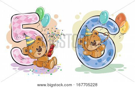 Vector set of numbers being in the legs in a fun teddy bears, template greeting card for a birthday child. Part two - the numbers 5, 6