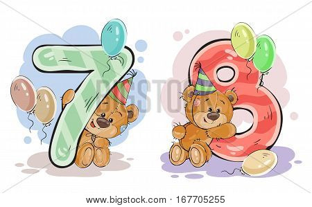 Vector set of numbers being in the legs in a fun teddy bears, template greeting card for a birthday child. Part three - the numbers 7, 8