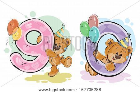 Vector set of numbers being in the legs in a fun teddy bears, template greeting card for a birthday child. Part four - the numbers 9, 0